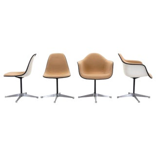 Set of Eight Upholstered Eames Swivel Dining Chairs, Two Arm and Six Side Chairs