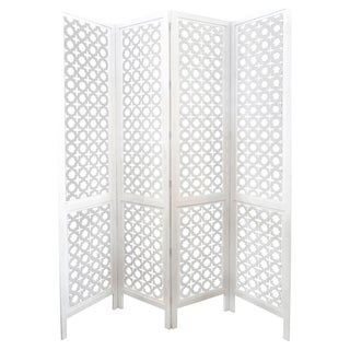 Carved Wood Work White Screen/Room Divider