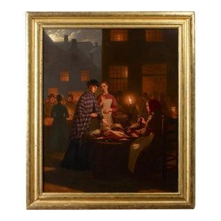 "Painting by Johann Mongels Culverhouse, ""Street Market Under the Moonlight"""