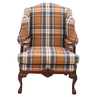 English Plaid Wingback Chair