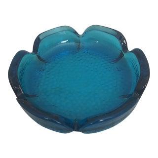 Round Mid Century Aquamarine Glass Ashtray