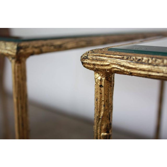 Pair of Italian Gilded X-Base Side Tables with Mirror Tops - Image 3 of 10