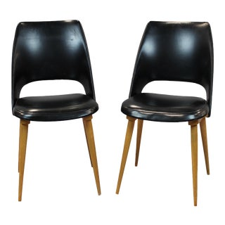 Mid-Century Vinyl Noir Side Chairs - a Pair