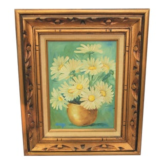 Vintage Daisy Oil Painting
