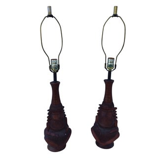 1950's Decorative Wooden Lamps - Pair