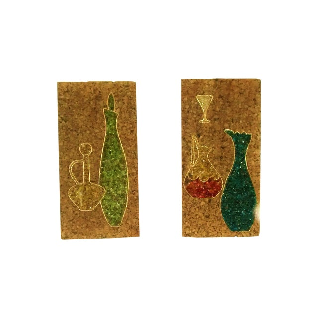 Mid-Century Gravel Cork Board Art - Pair - Image 1 of 6