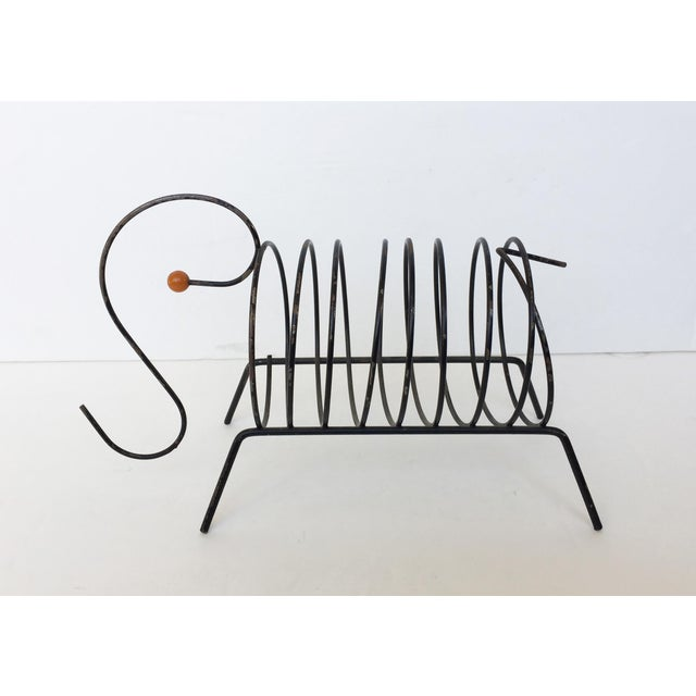 Vintage Mid-Century Black Metal Wire Mail Holder - Image 2 of 7