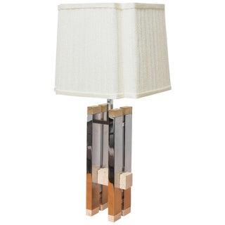 Gaetano Sciolari Modernist Travertine & Steel Table Lamp