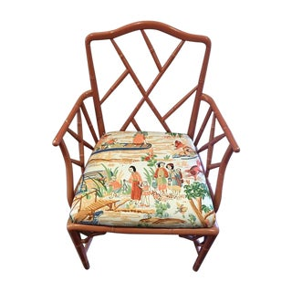 Italian Chippendale Chair With Pagoda Fabric