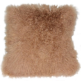 Pillow Decor - Mongolian Sheepskin Light Mocha Throw Pillow