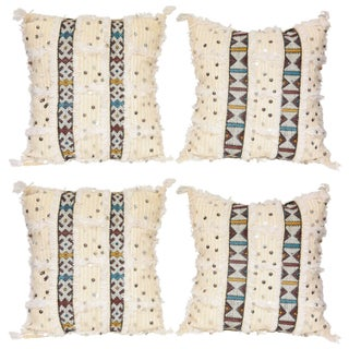 White Moroccan Pillows - Set of 4