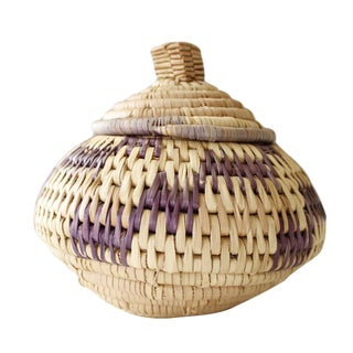Vintage Woven Coil Basket With Round Purple Lid
