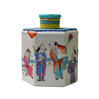 Chinese Handmade Eight Immortal Hexagon Porcelain Tea Jar