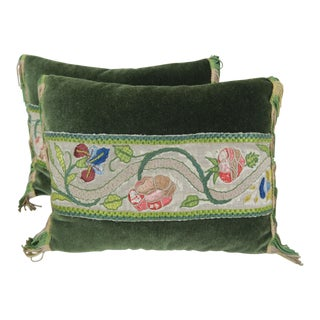 Mohair Pillows with 18th C. Floral Embroidery - Pair