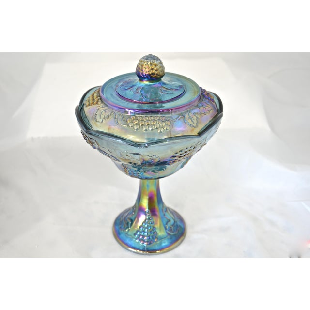 Peacock Blue Pedestal Bowl - Image 4 of 4