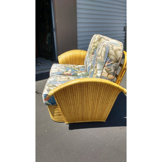 Art Deco Rattan Fan Arm 2 Seat Sofa - Image 4 of 8