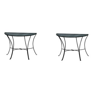 Glass Top Wrought Iron Tables - A Pair