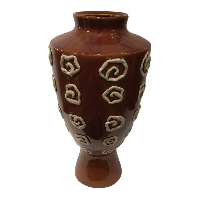 Image of Large Brown Modern Vase with White Accents