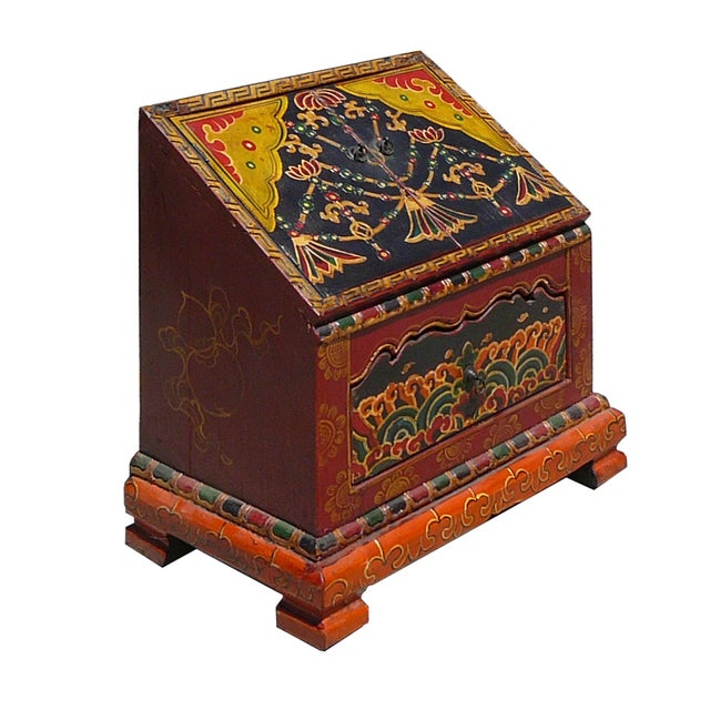 Tibetan Graphic Carved Wood Trunk - Image 2 of 4