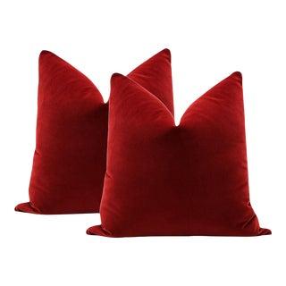 """20"""" Christmas Red Velvet Pillows - a Pair"""