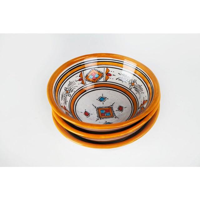 Handcrafted Orange Ceramic Bowls - Set of 3 - Image 2 of 4