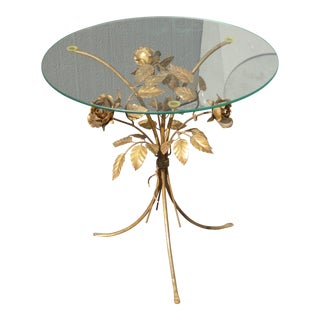 Vintage Italian Gilt Floral Leaf Tole Glass Table