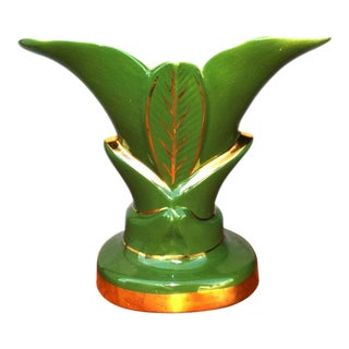 Vintage Ceramic Palm Plant Accent Table Lamp