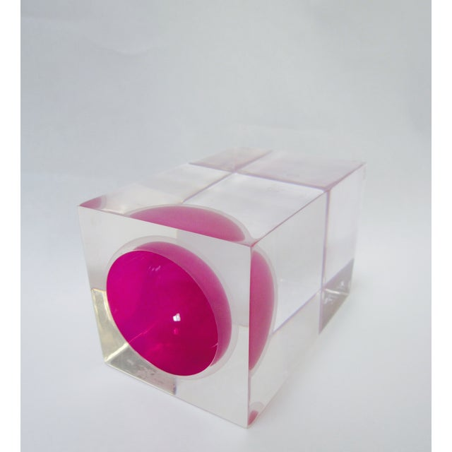 Image of Thick Block Lucite Candle Holder, Signed