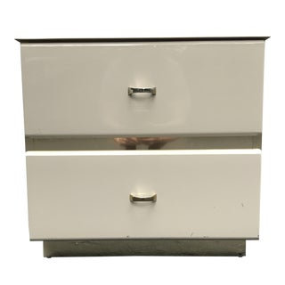 Lacquered Italian Cream Nightstand With Brass Base