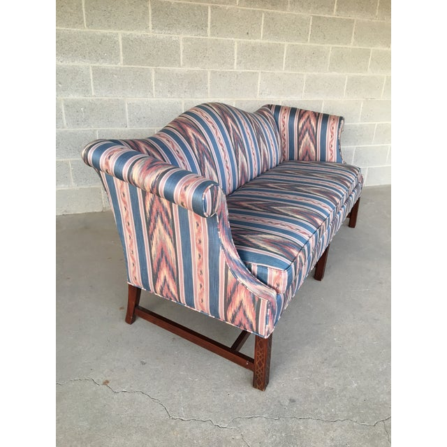 Hickory Chair Flame Stitch Chippendale Style Camel Back Sofa - Image 2 of 11