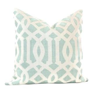 Schumacher Mineral Imperial Trellis Aqua Pillow Cover, 20x20