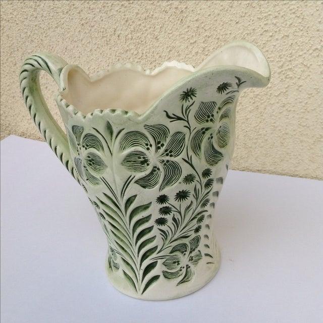 Green Botanical Artisan Pottery Pitcher - Image 6 of 11