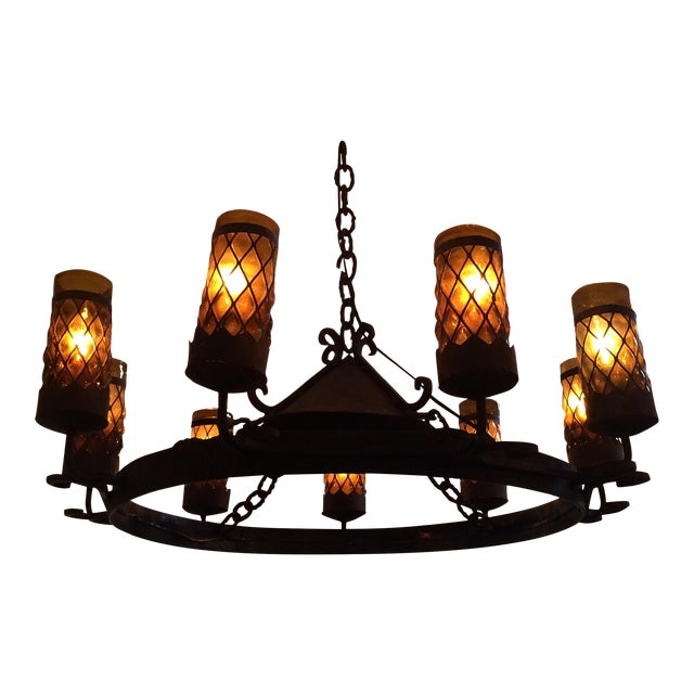 Spanish Revival Wrought Iron Chandelier - Image 1 of 7