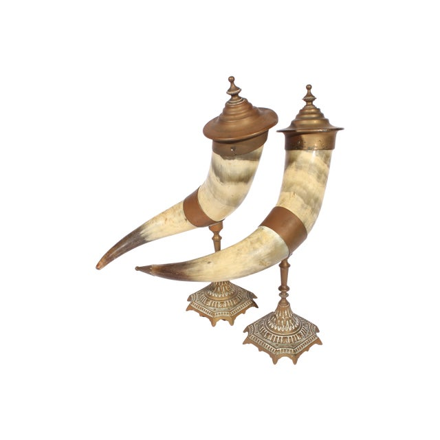 Image of Victorian Brass Drinking Horns - Pair