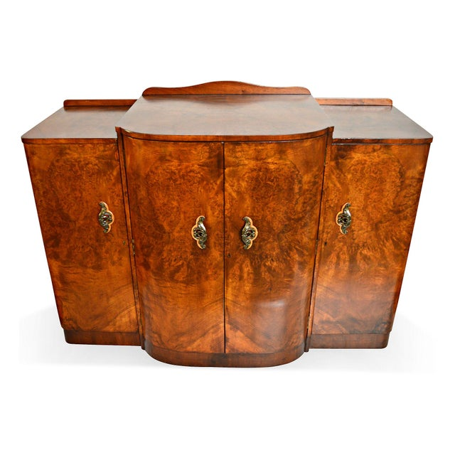 French Art Deco Burl Walnut Veneer Bar/Buffet - Image 2 of 8