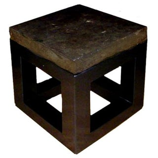 "Stone Top Side Table with Black Base - 20 ""x 20"""