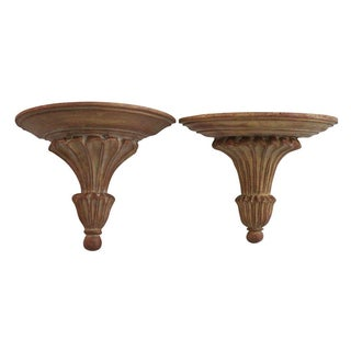 Gilded Wall Sconces with Shelves - Pair