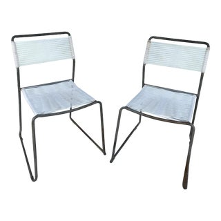 Mid-Century Welded Steel and Plastic Strings Chairs - a Pair