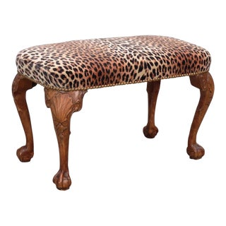 Faux Leopard Upholstered Bench