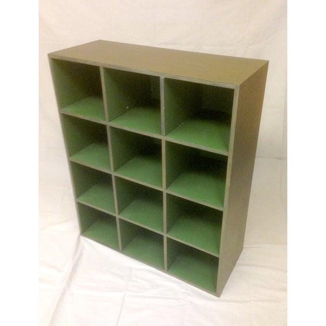 Image of Metallic and Green Cubby Shelf Unit