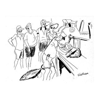 """Vintage """"Cleaning Fish"""" Drawing, Giclee Print by New Yorker Cartoonist George Schellhase, 1950s"""