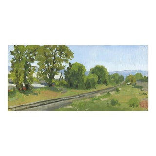 Oak Trees Spring With Railroad Tracks, Original Landscape Painting by Sarah F. Burns