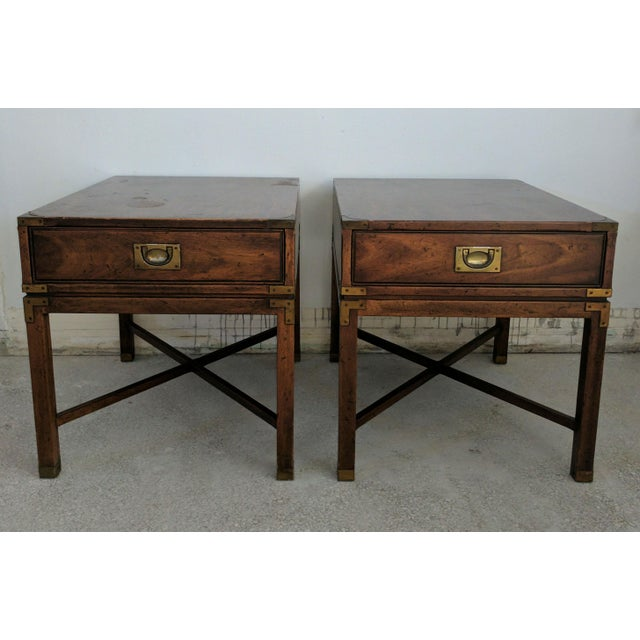 Vintage Heritage Campaign Style Nightstands- A Pair - Image 2 of 4
