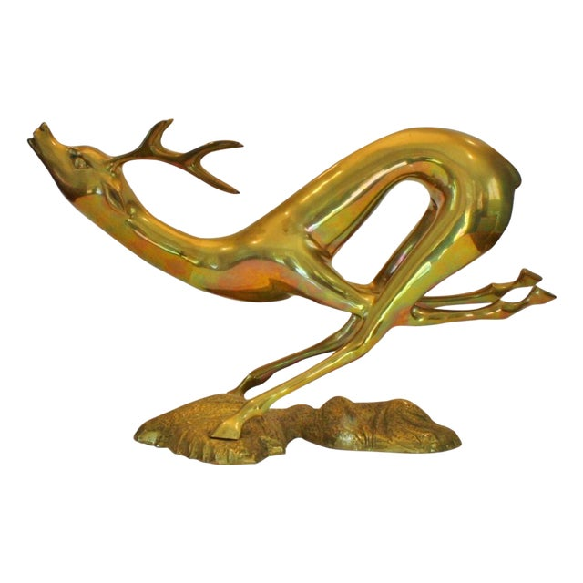 Vintage Large Brass Running Deer - Image 1 of 5