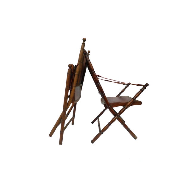 Campaign Style Leather & Ash Folding Chairs - Pair - Image 8 of 10