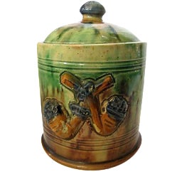 French Majolica Tobacco Jar with Pipes