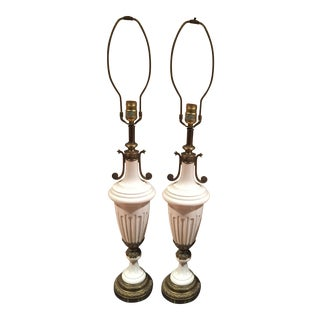 Hollywood Regency White Ceramic Lamps - Pair