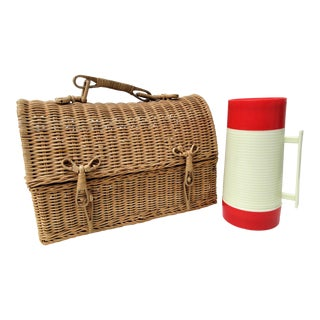 Wicker Lunch Box & Thermos