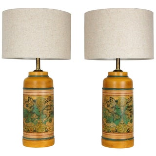 Vintage Historical Map Lamps - Pair