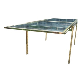 Brass and Glass Extendable Table Milo Baughman Dia